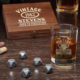 Aged to Perfection Personalized Whiskey Gift Set with Eastham Glass and Black Onyx Whiskey Stones