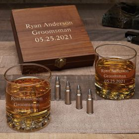 Personalized Buckman Glasses with Bullet Whiskey Stones