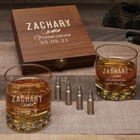 Classic Groomsman Custom Whiskey Gift for Groomsmen with Buckman Glasses and Bullet Whiskey Stones