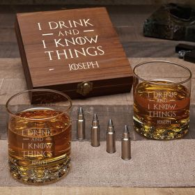 I Drink & I Know Things Custom Buckman Glasses with Bullet Whiskey Stones