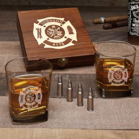 Fire & Rescue Custom Square Rocks Glasses with Bullet Whiskey Stones – Firefighter Gift