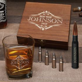 Wilshire Custom Whiskey Bullet Stones & Bottle Opener Set