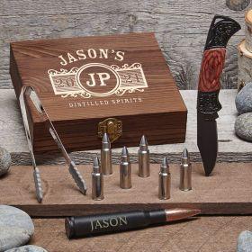 Marquee Custom Bullet Whiskey Stones & Lockback Knife Set