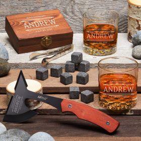 Rustic Adventure Stanford Custom Axe & Whiskey Set – Gift for Groomsmen