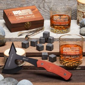 American Heroes Custom Whiskey Gift Set with Hatchet - Military Gifts for Him