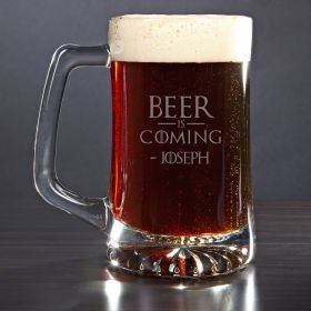 Beer is Coming Custom Beer Mug