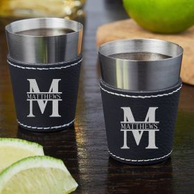 Oakmont Leatherette Wrapped Custom Shot Glasses