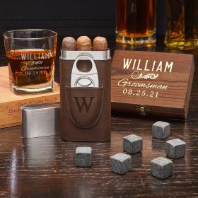 Classic Groomsman Custom Whiskey & Cigar Set – Groomsmen Gift Set