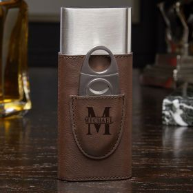 Oakmont Brown Leatherette Personalized Cigar Case