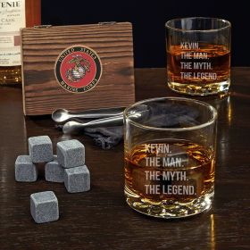 Man Myth Legend Personalized Buckman Whiskey Glasses with Whiskey Stones – Gift for Marines