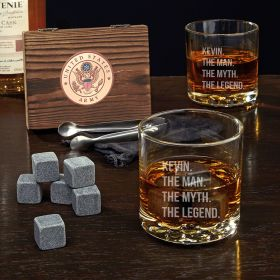 Man Myth Legend Custom Whiskey Stone Set and Buckman Glasses - Gift for Army