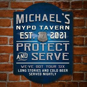 Police Protect and Serve Custom Bar Sign - Gift for Police Officers