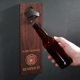 Marine Crest Personalized Wall Mounted Bottle Opener Military Gift
