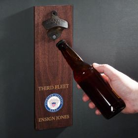 Navy Crest Personalized Wall Mounted Bottle Opener Military Gift