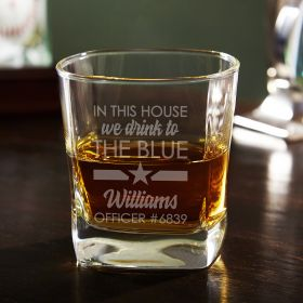 In This House Thin Blue Line Custom Square Whiskey Glass - Police Gift