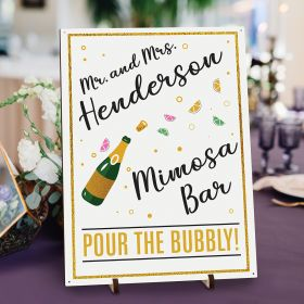 Bubbly Gold Personalized Mimosa Bar Sign For Weddings