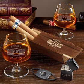 Marquee Engraved Cigar Lovers Box Set with Cognac Glasses - Cognac Gift Set