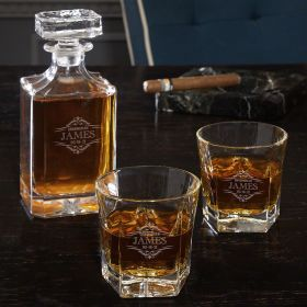 Wilshire Personalized Carson Decanter and Colchester Glass Whiskey Gift Set