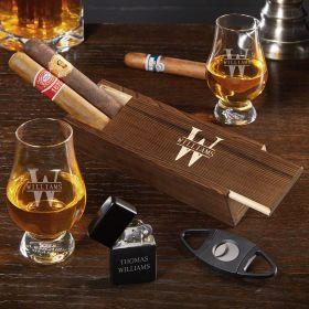 Oakmont Customized Glencairn Cigar Box Set