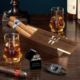 Oakmont Engraved Whiskey and Cigar Gift Set with Duke Glasses