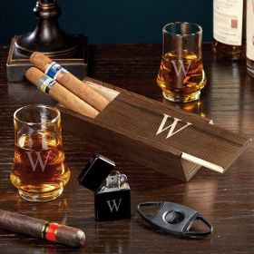 Single Initial Duke Whiskey Taster Glass Cigar Gift Set