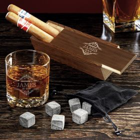 Wilshire Custom Buckman Glass Cigar and Whiskey Gift Set
