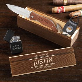 Stanford Personalized Cigar Box With Lighter And Knife-Cigar Gift Set