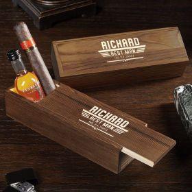 Maverick Engraved Cigar Box Gift for Groomsmen