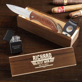 Maverick Personalized Cigar Box Set Gifts for Groomsmen
