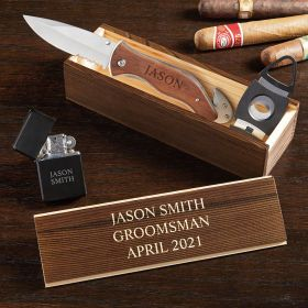 Personalized Knife Gift Set with Cigar Accessories