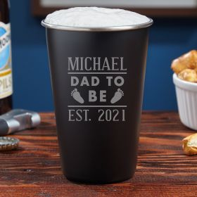Dad To Be Personalized Blackout Pint- Gifts for New Dads