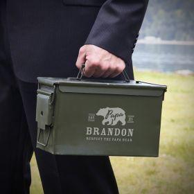 Papa Bear 50 Cal Ammo Box Dad Gift