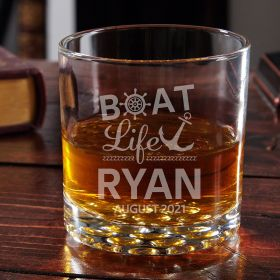 Boat Life Is The Best Life Personalized Buckman Whiskey Glass