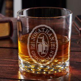 Oak and Barrel Engraved Bourbon Glass