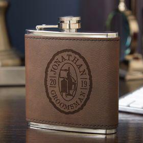 Oak and Barrel Engraved Liquor Flask