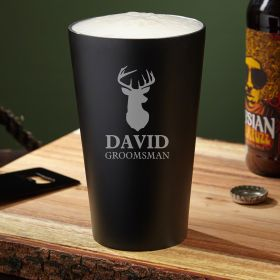 Woodlands Stainless Steel Engraved Pint Glass