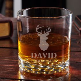 Woodlands Etched Buckman Whiskey Glass