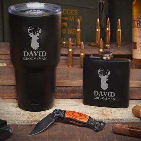 Eagle Eye Woodlands Custom Stainless Steel Tumbler Set with Knife