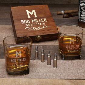 Warwick Personalized Whiskey Gift Set with Bullet Whiskey Stones