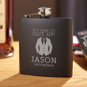 Suit Up Custom Blackout Groomsmen Flask