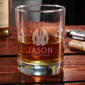 Suit Up Engraved Whiskey Glass Groomsman Gift