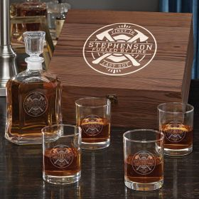 Firefighter Brotherhood Personalized Argos Decanter Box Set - Gift for Firefighters