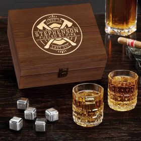 Firefighter Brotherhood Personalized Whiskey Box Set Gift for Firefighters