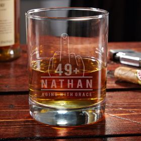 Aging with Grace Engraved Eastham Whiskey Gift for 50th Birthday