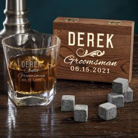 Classic Groomsman Colchester Glass Personalized Whiskey Set Groomsman Gift Set
