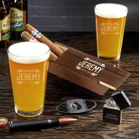 Bradshaw Personalized Beer and Cigar Gifts for Groomsmen