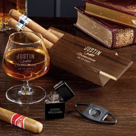 Classic Groomsman Engraved Cognac Cigar Box Set Groomsmen Gift