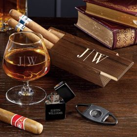 Quinton Engraved Cognac and Cigar Gift Set