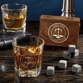 Scales of Justice Personalized Whiskey Gifts for Lawyers