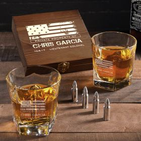 American Heroes Personalized Colchester Bullet Whiskey Stone Set of Military Gifts